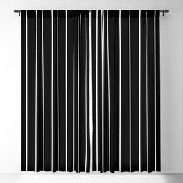 Classic White Baseball Stripe Lines On Black Blackout Curtain
