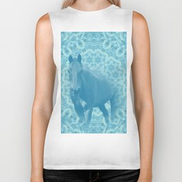 horse and wattle mandala in blue Biker Tank