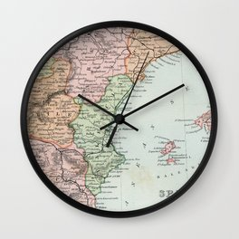 Vintage Map of Spain and Portugal Wall Clock