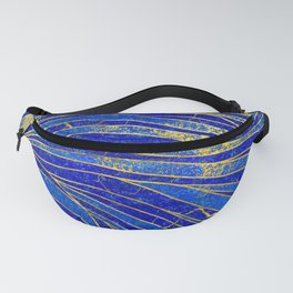 Lapis Lazuli and gold vaves pattern Fanny Pack