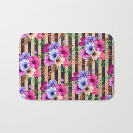 Fragrant Floral Bouquets on Striped Pattern Bath Mat