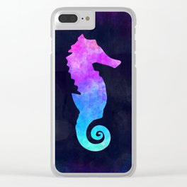 SEAHORSE IN SPACE // Animal Graphic Art // Watercolor Canvas Painting // Modern Minimal Cute Clear iPhone Case