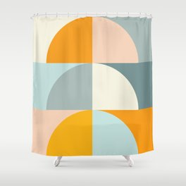 Summer Evening Geometric Shapes in Soft Blue and Orange Shower Curtain