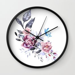 flower with butterfly Wall Clock