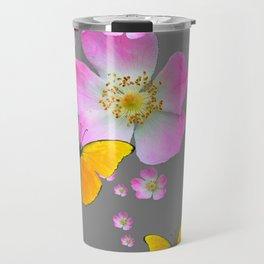 YELLOW BUTTERFLIES & PINK WILD ROSES Travel Mug