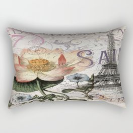 french scripts lotus floral vintage paris eiffel tower Rectangular Pillow