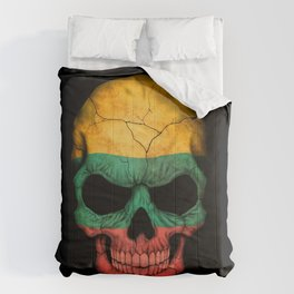 Dark Skull with Flag of Lithuania Comforters