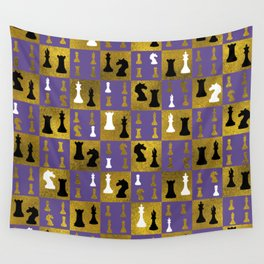 Violet Chessboard and Chess Pieces pattern Wall Tapestry