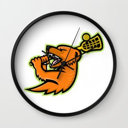 Mongoose Lacrosse Mascot Wall Clock