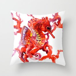 Seahorse, Coral red Scarlet Artwork Throw Pillow
