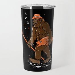 Fishing & Yeti Design: Bigfoot Carrying Fish Travel Mug