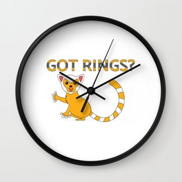 Unique & Funny Ringtail Cat Tshirt Design Got Rings? Wall Clock