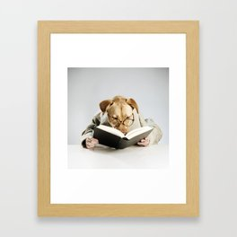 Reading Dog Framed Art Print