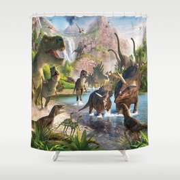 Jurassic dinosaurs in the river Shower Curtain
