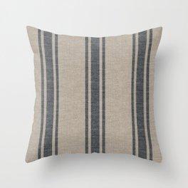 Farmhouse linen beige grey rustic grain sack texture vintage farmhouse lined design modern rustic Throw Pillow