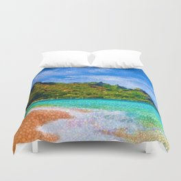 Pacific Isles, A Landscape Painting by Jeanpaul Ferro Duvet Cover