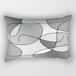 ABSTRACT CURVES #1 (Grays & White) Rectangular Pillow