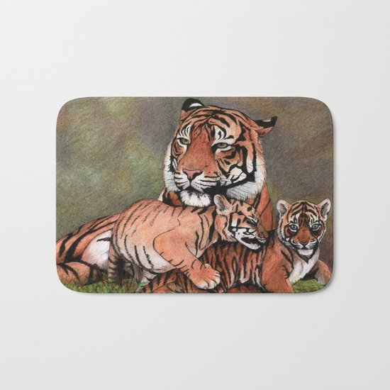 Family of tigers Bath Mat