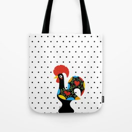 Famous Rooster Lucky Charm & Polka Dots Tote Bag