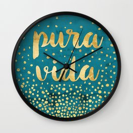 Pura Vida Gold on Teal Wall Clock