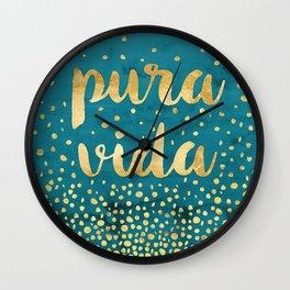 Pura Vida Gold on Teal Wall Clock
