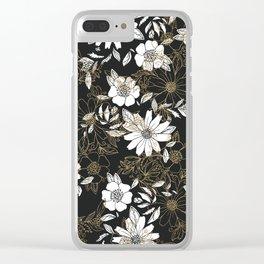 Modern black white faux gold elegant floral Clear iPhone Case