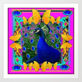 Cerise Wildlife Art Blue Peacock & Yellow Butterflies Art Art Print