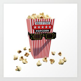 Buttered Popcorn and 3D Movie glasses Art Print