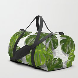 """""""Monstera plant on polka dots and white"""" Duffle Bag"""