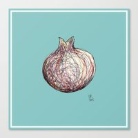 pomegranate Canvas Prints featuring Pomegranate by Ursula Rodgers