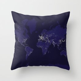 The world map at night in navy blue Throw Pillow