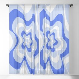Abstract pattern - blue and white. Sheer Curtain