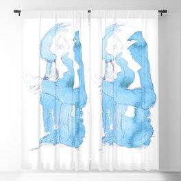Watercolor Baboon - Blue Palette Blackout Curtain