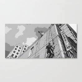 Black and White Street Artist Canvas Print