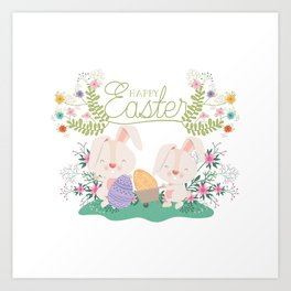 Happy Easter Baby Bunnies, Eggs and Pastel Flowers 2 Art Print