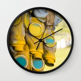 Yellow gas mask Wall Clock