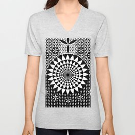 Sun Torus Sacred Geometry Black White Unisex V-Neck