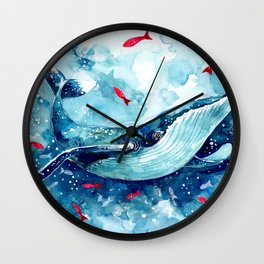 Childrens Blue Watercolor Whale Wall Clock