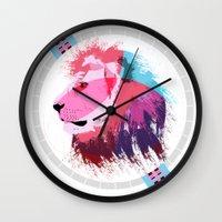 leon Wall Clocks featuring Leon neon by Süyümbike Güvenç