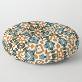 Boho western teal and terracotta pattern tiled Floor Pillow