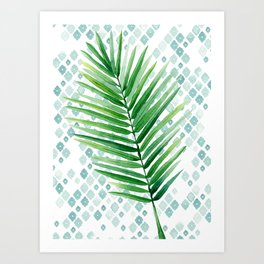 Tropical Palm Frond Watercolor Painting Art Print