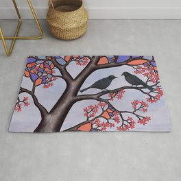 spring crows in the stained glass tree Rug