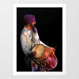 Dhol Drummer in traditional Punjabi dress Art Print