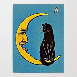 Black Cat & Moon Poster
