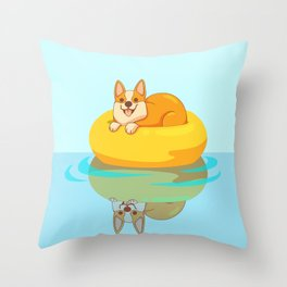 Summer Corgi Throw Pillow