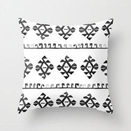Black and White Bohemian Tribal Ethnic Kilim Pattern Throw Pillow