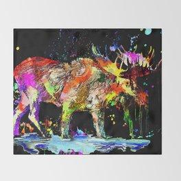 Moose Grunge Throw Blanket