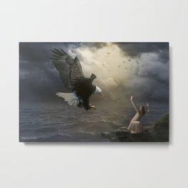 The girl and the eagle Metal Print