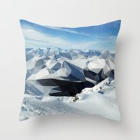 low poly Throw Pillows featuring low poly mountains by tony tudor