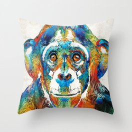 colorful chimp art monkey business by sharon cummings throw pillow